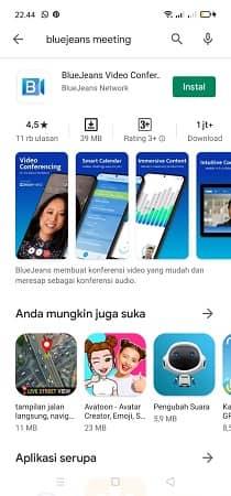 bagaimana mendownload aplikasi bluejeans di Android