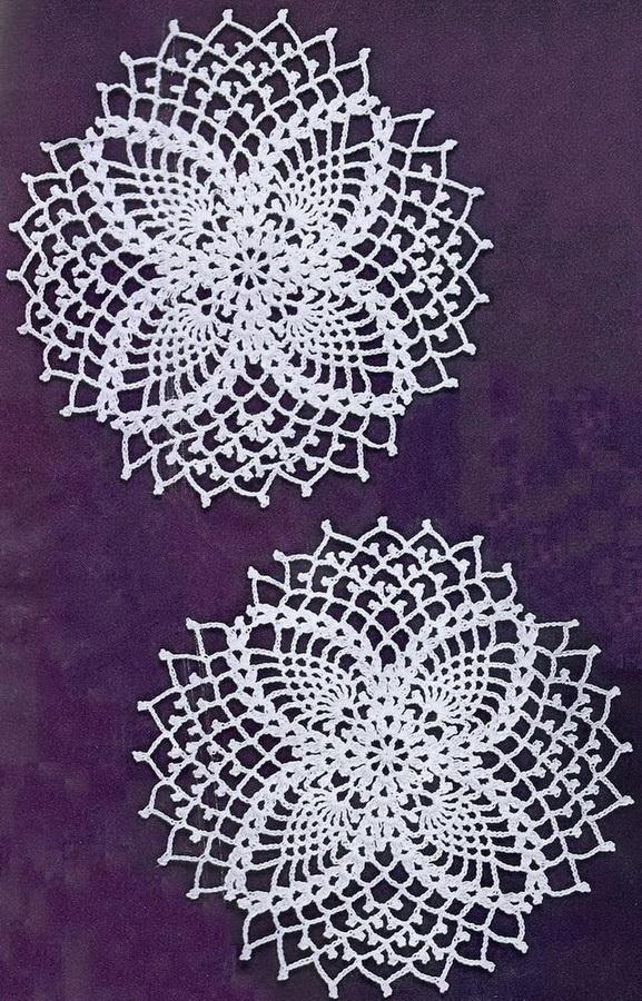 Crochet Coasters or Pineapple Doilies - pattern / diagram is available