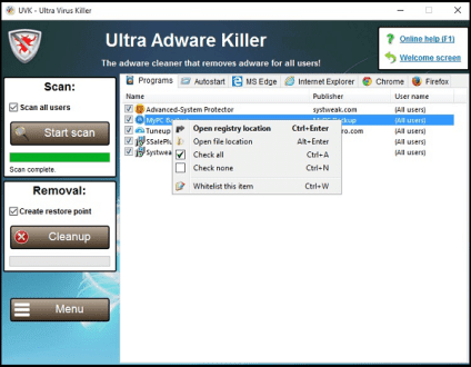 Ultra Adware Killer V9.6.0.0 - Loại bỏ quảng cáo khỏi máy tính