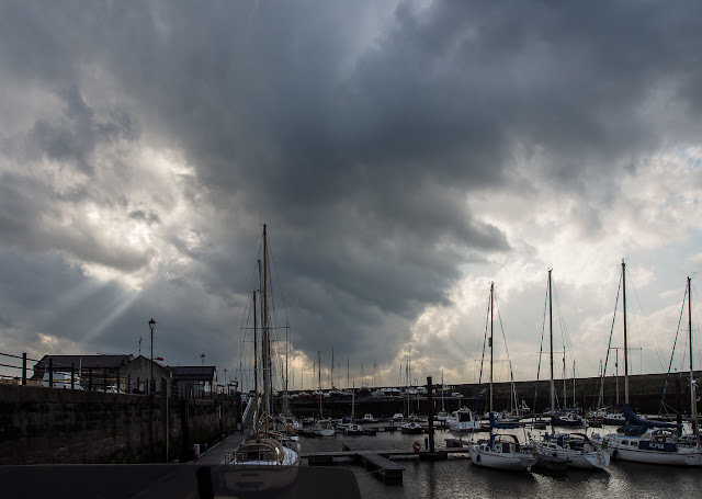Photo of storm clouds gathering over Maryport Marina before ex-hurricane Ophelia