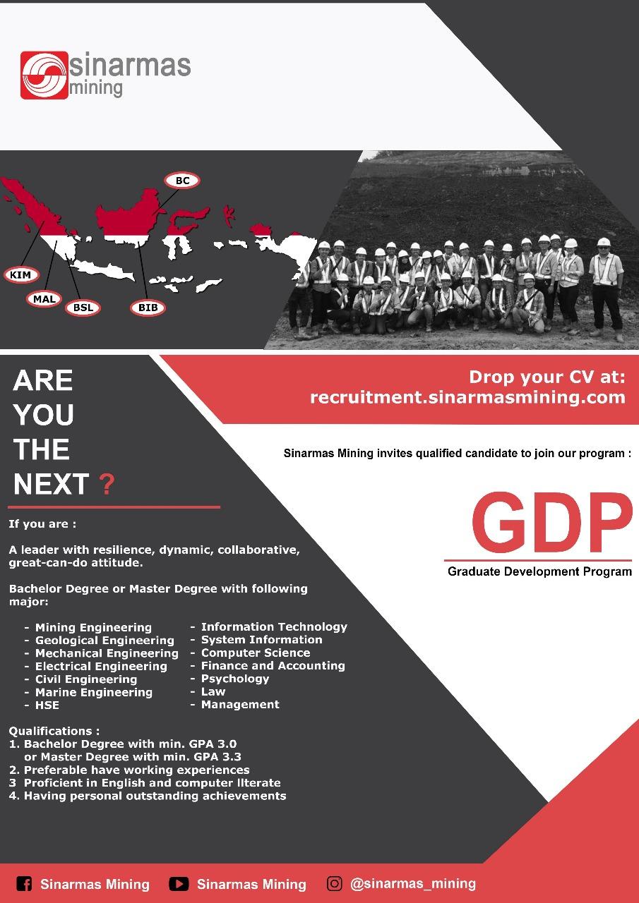 Lowongan Kerja Mine Engineer Sinar Mas Mining Open Recruitment S1 Teknik Pertambangan Universitas Mulawarman
