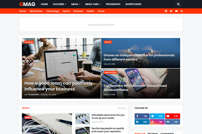 Gmag Responsive Magazine Blogger Template