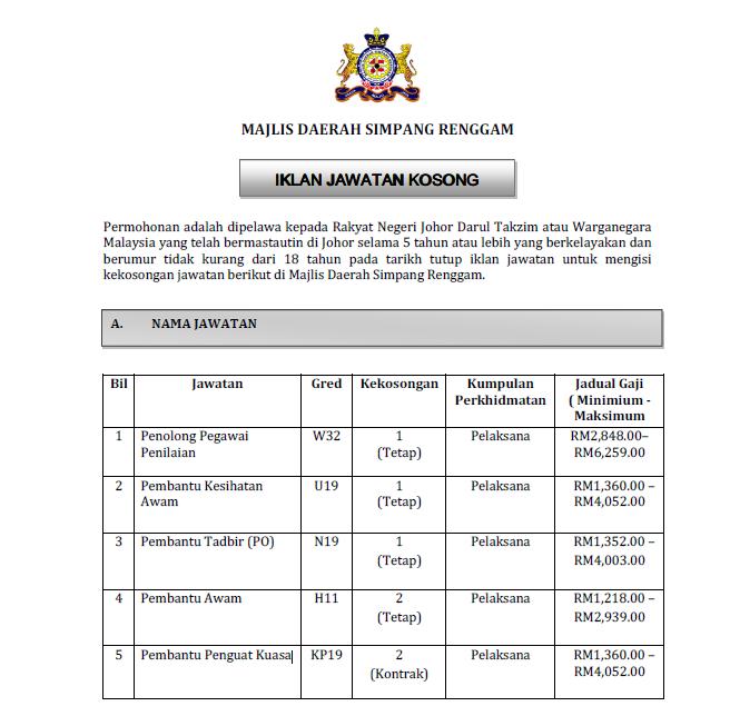 Jawatan Kosong Terkini di Majlis Daerah Simpang Renggam.