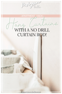 Hang your curtains without holes! This budget-friendly apartment decorating hack is an easy DIY curtain rod for renters!