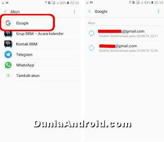 melihat akun google Gmail di HP j2 prime