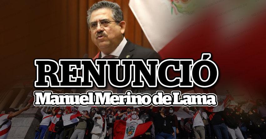 RENUNCIÓ: Manuel Merino de Lama anunció su renuncia al gobierno de facto