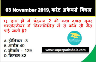 Daily Current Affairs Quiz in Hindi 03 November 2019