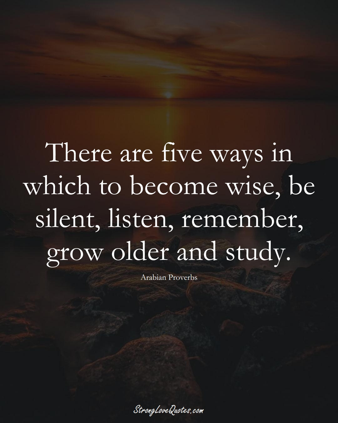 There are five ways in which to become wise, be silent, listen, remember, grow older and study. (Arabian Sayings);  #aVarietyofCulturesSayings