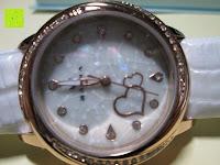 Ziffernblatt: Ostan Damen Uhren Mode Weiß Leder Runde Zifferblatt mit Zirkonia Armkette Armband Armbanduhr Uhr