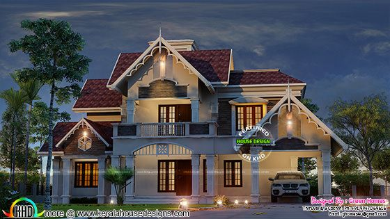 Very cute decorative sloping roof house