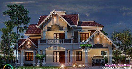 Very cute decorative sloping roof house kerala home for Really cute houses