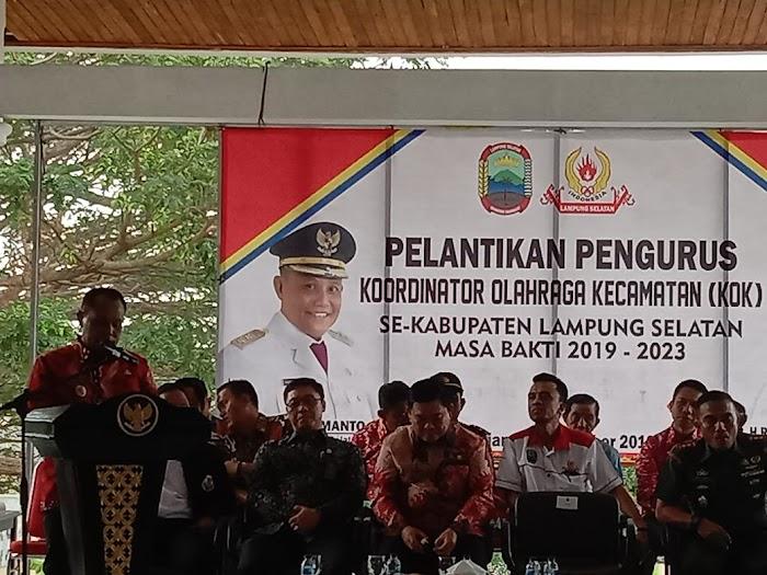 Plt Nanang Ermanto,Hadiri Pelantikan Koordinator Olahraga Kecamatan(KOK) Oleh KONI Lamsel Di Aula Sebuku .