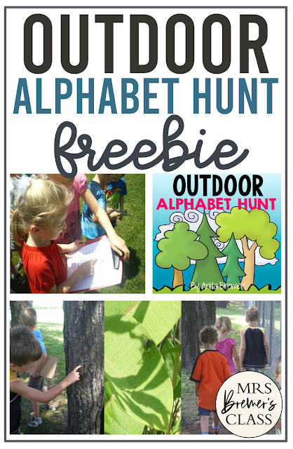 Free Outdoor alphabet hunt activity download for Kindergarten and First Grade