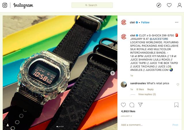 Kolaborasi CLOT x G-Shock DW-5750 Di Juice Stores HK, CN, TW, US