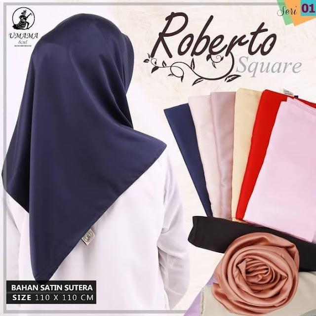 Jilbab Segi Empat Satin Sutera Premium Roberto UMAMA