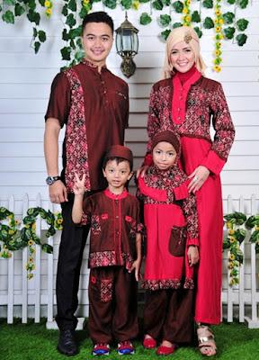 Baju muslim couple keluarga kombinasi batik