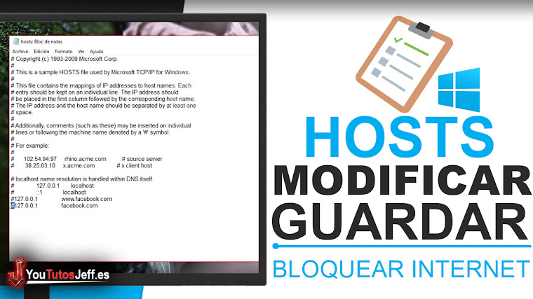 Como Modificar Archivo Hosts de Windows y Guardarlo Correctamente - Bloquear Acceso a Paginas Web