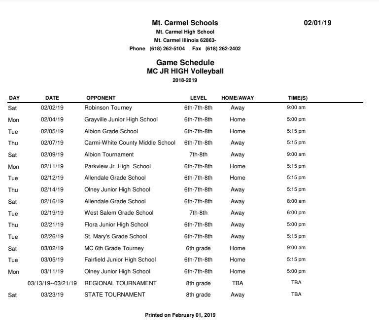 Mt  Carmel Junior High School: Athletics