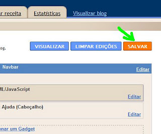 Local do botão salvar no painel do blog.