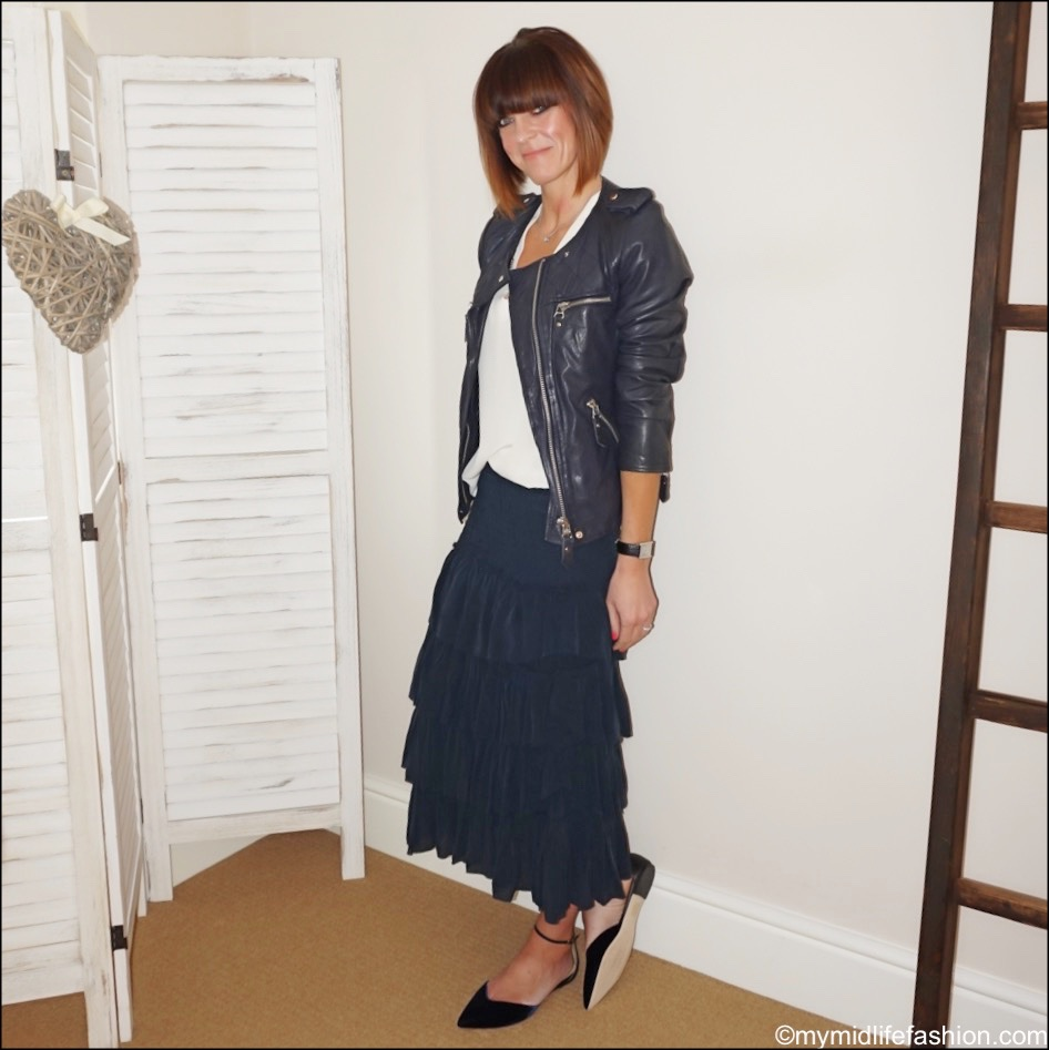 my midlife fashion, Isabel Marant Etoile leather jacket, Alexis silk top, Isabel Marant Etoile silk ruffle skirt, j crew velvet flats