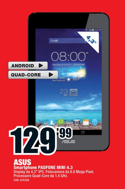 In offerta da Mediaworld lo smartphone (no tablet) PadFone Mini 4.3 a 129,99 euro
