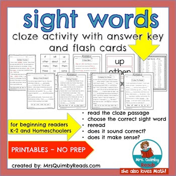 teaching resources, word study, sight words, cloze activity, literacy instruction