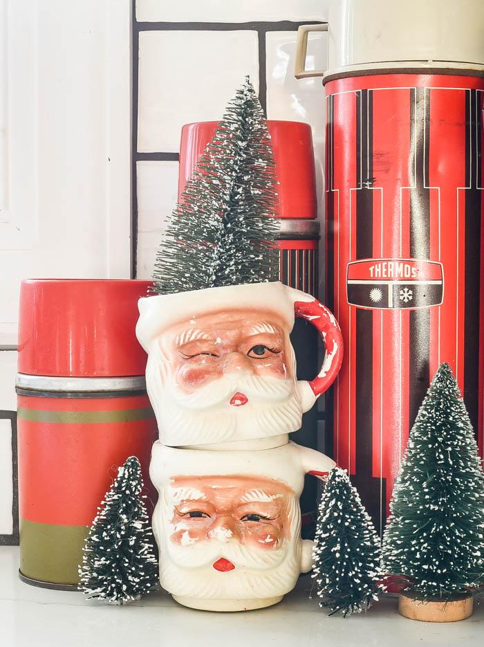 Vintage santa mugs and thermoses