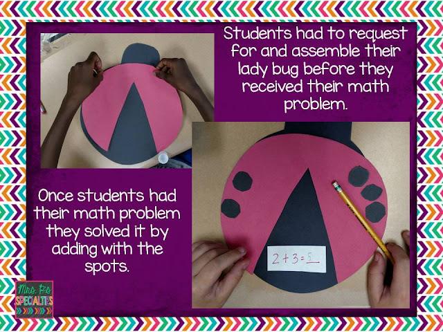 photo of ladybug math craft students completed