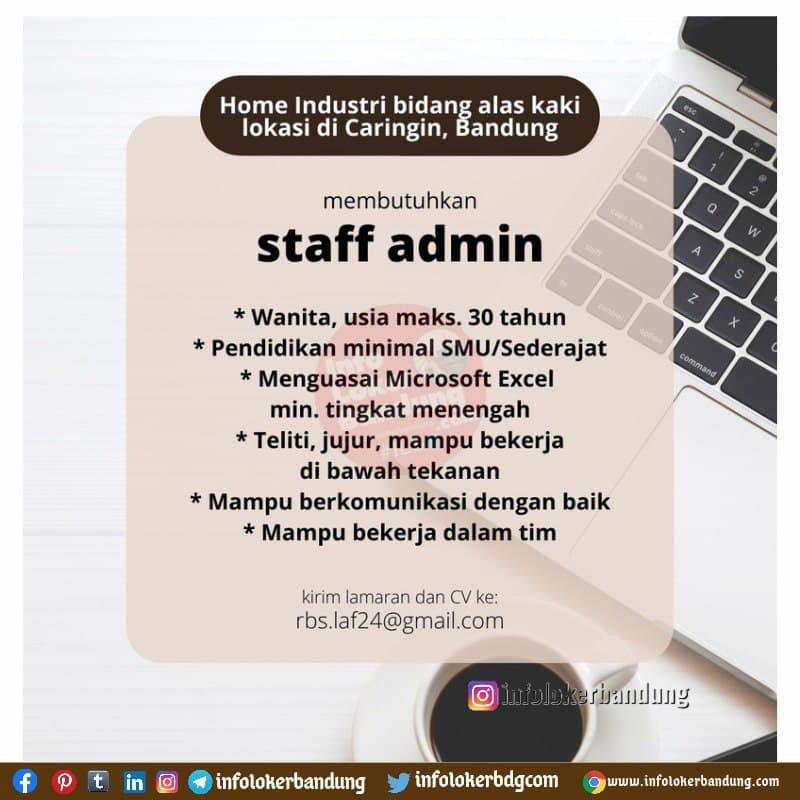 Lowongan Kerja Staff Admin Home Industri Alas Kaki di Bandung September 2021