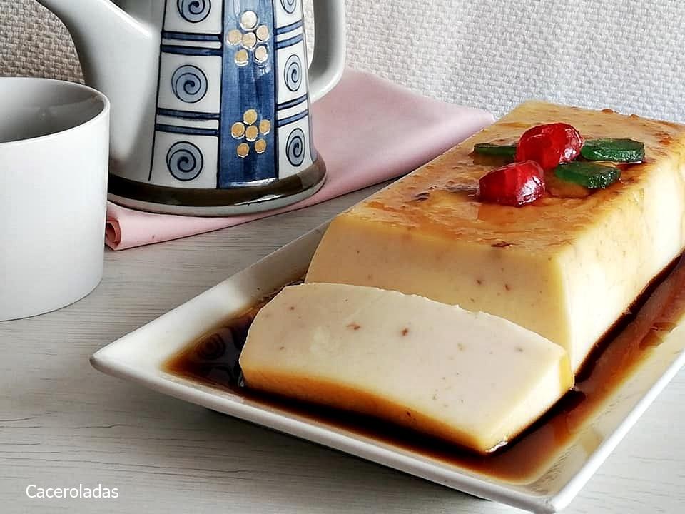 Flan de chocolate blanco con almendras - Sin horno
