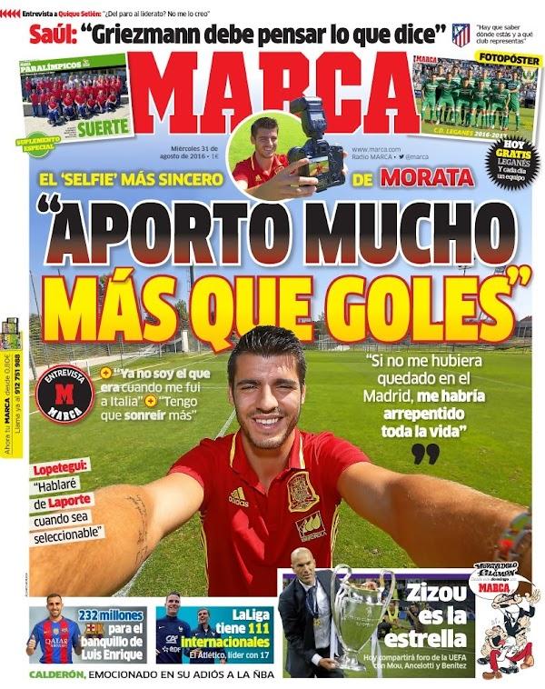 """Morata, Marca: """"Aporto mucho más que goles"""""""