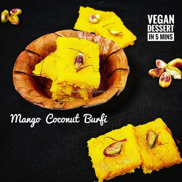 Traditional Coconut barfi in Mango flavor .  Quick fix vegan dessert under 5 mins, nariyal vadi, naralachi barfi , mango thengai barfi, how to make coconut barfi in microwave