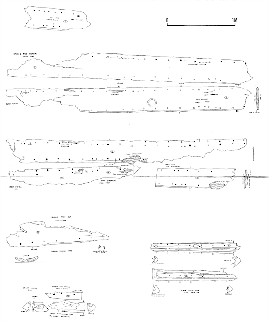 Drawings of the San Isidro planks and keel.