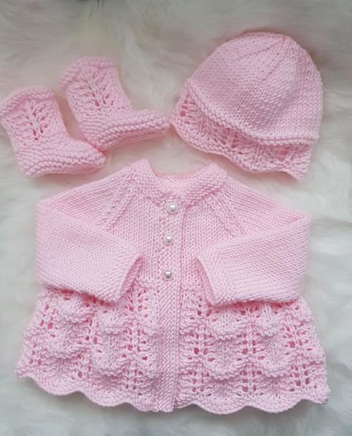 Isabella Baby Cardigan, Hat & Booties - knitting Pattern
