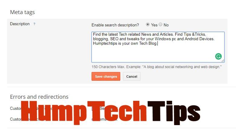 SEO meta tags description blogger