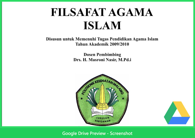 Contoh Makalah Agama Tentang Filsafat Agama Islam