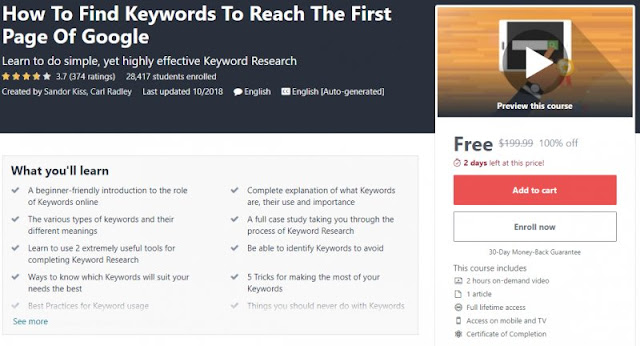 [100% Off] How To Find Keywords To Reach The First Page Of Google| Worth 199,99$