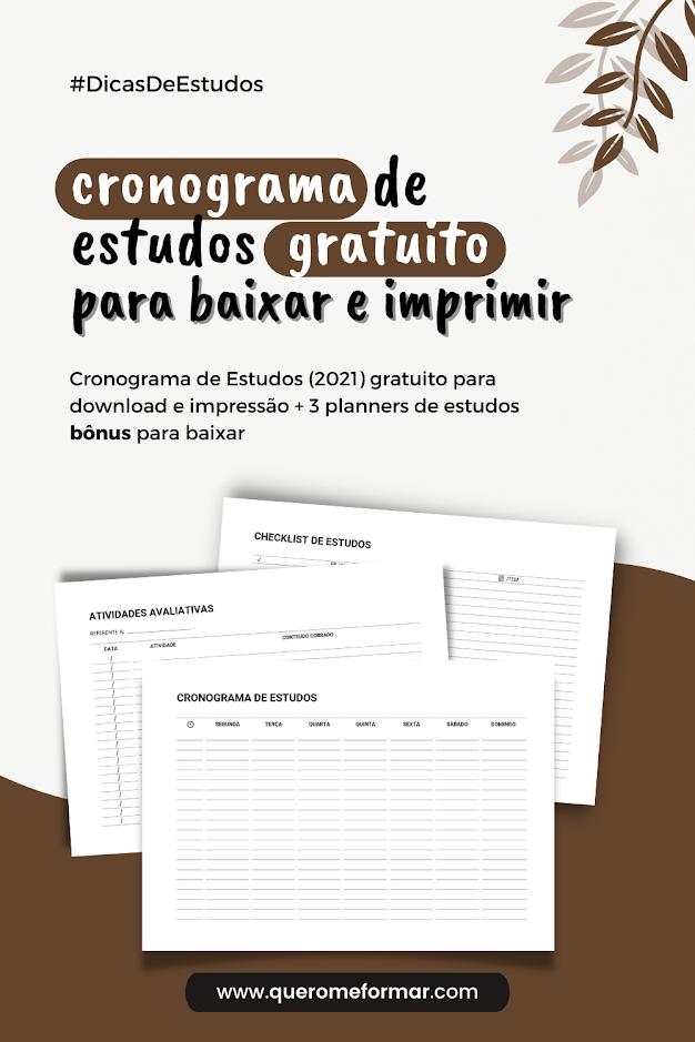 Imagem de Divulgação para Pinterest Cronograma de Estudos para Imprimir Gratuitamente (2021) + Planners