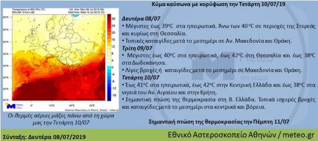 Κύμα καύσωνα με κορύφωση την Τετάρτη 10/07/2019