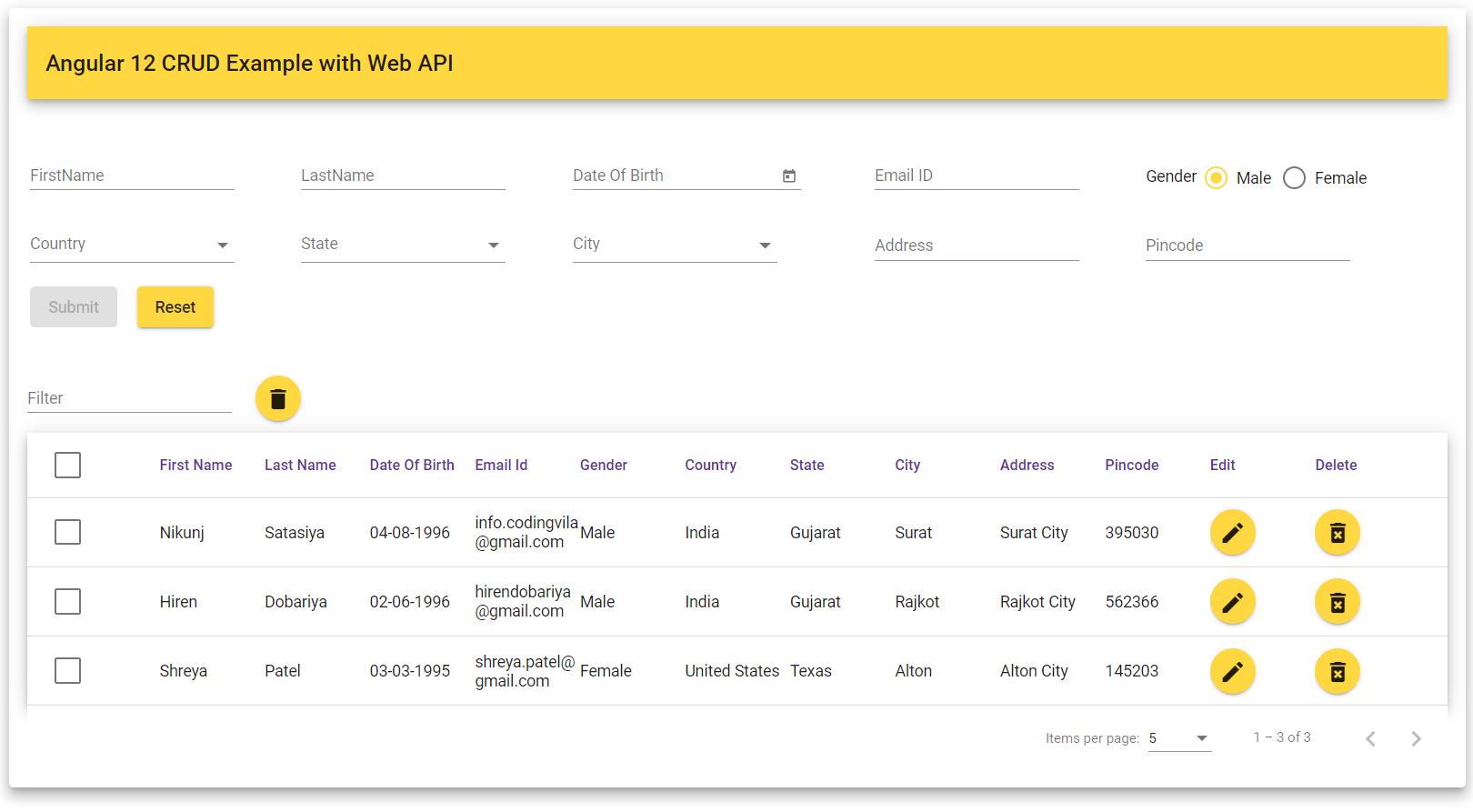 Angular 12 CRUD Example with Web API