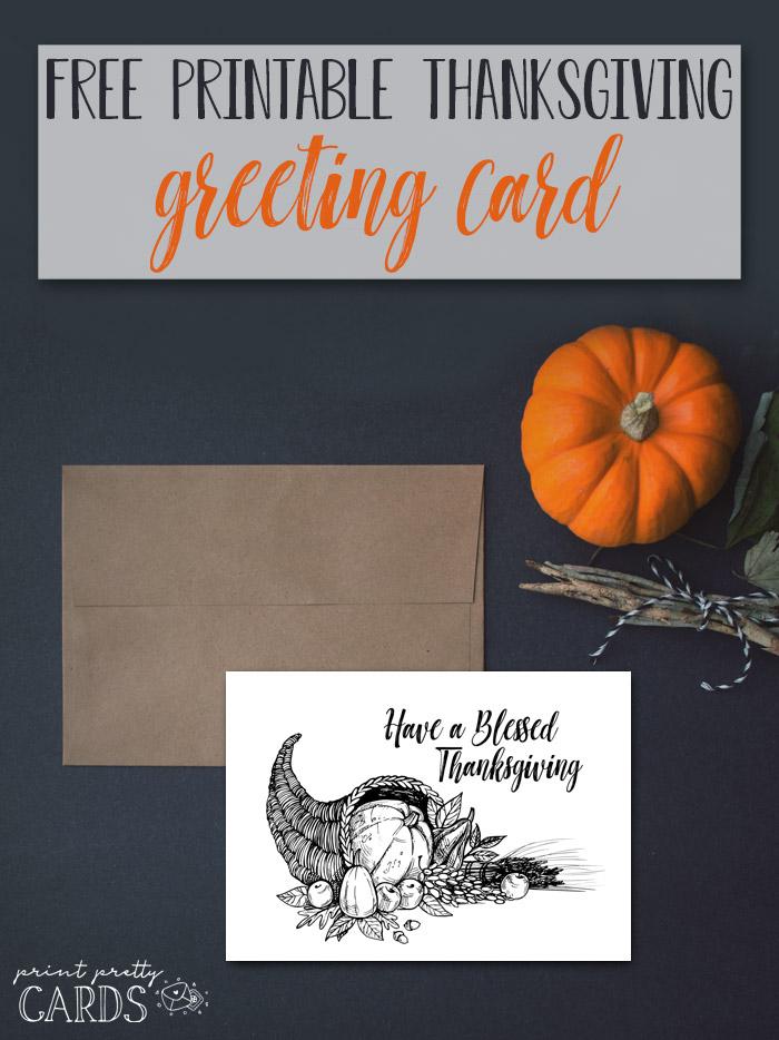Free Cornucopia Printable Card for Thanksgiving