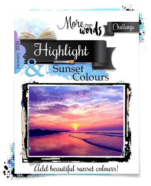 More Than Words January 2020 Challenge Board Highlight and Sunset Colors