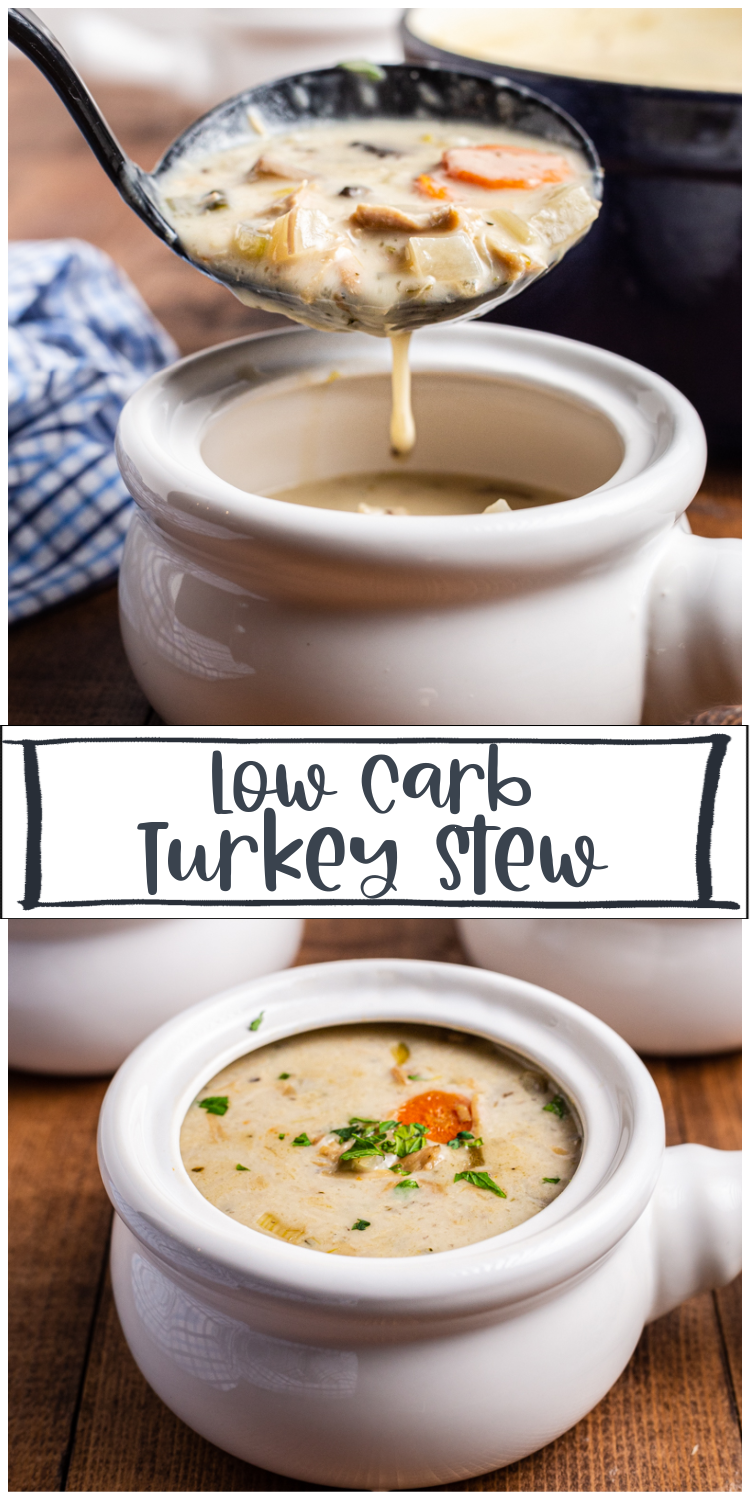 Creamy Low Carb Turkey Stew - This easy to make creamy low carb turkey stew is the ideal way to use that leftover holiday turkey, but can easily be adapted to use leftover chicken. #lowcarb #keto #glutenfree #stew #soup #turkey #chicken #leftover | bobbiskozykitchen.com