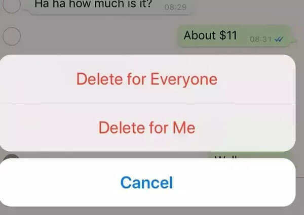 How do you delete for everyone after Delete for me in WhatsApp?