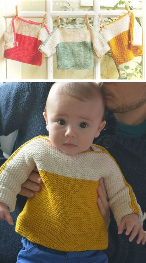 French Macaroon Baby Sweater - Free Knitting Pattern