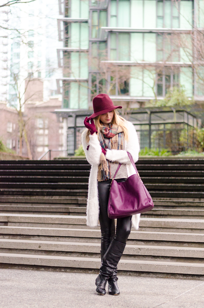 the urban umbrella style blog, vancouver style blog, vancouver fashion blog, vancouver lifestyle blog, vancouver health blog, vancouver fitness blog, vancouver travel blog, canadian fashion blog, canadian style blog, canadian lifestyle blog, canadian health blog, canadian fitness blog, canadian travel blog, bree aylwin, american eagle fuzzy sweater, how to wear a fuzzy sweater, hue leather leggings, how to style leather leggings, charming Charlie handbag, aldo plaid blanket scarf, how to style a blanket scarf, the Hudson bay company leather leggings, how to look stylish in the winter, how to layer stylishly, best fashion blogs, best style blogs, best lifestyle blogs, best fitness blogs, best health blogs, best travel blogs, top fashion blogs, top style blogs, top lifestyle blogs, top fitness blogs, top health blogs, top travel blogs
