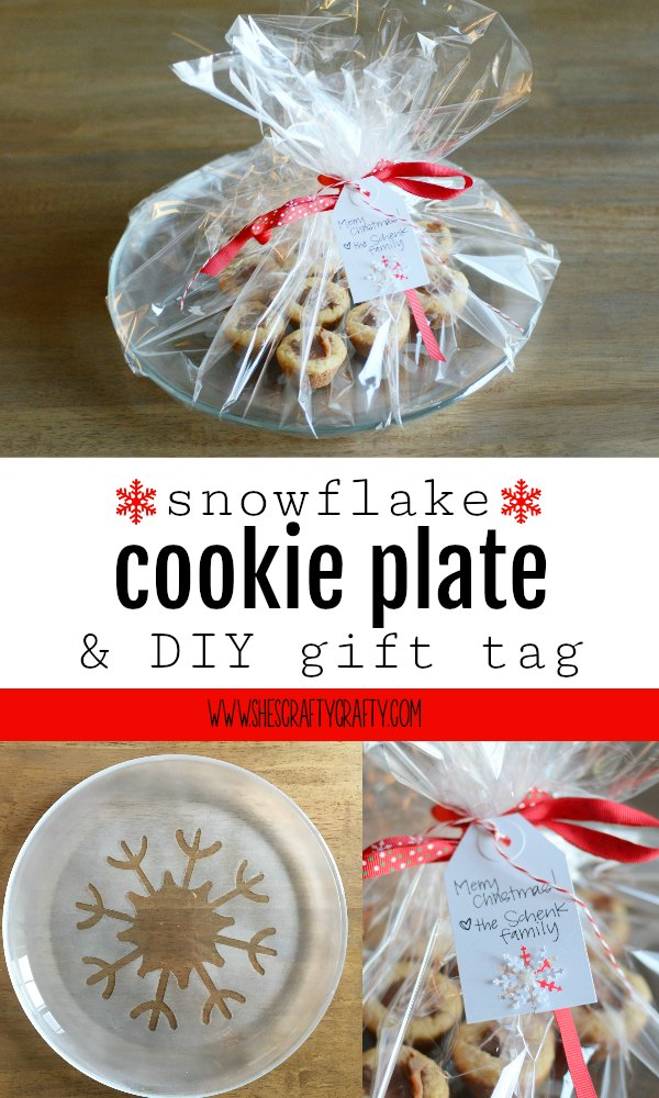 snowflake, cookie plate, glass plate, gift tag