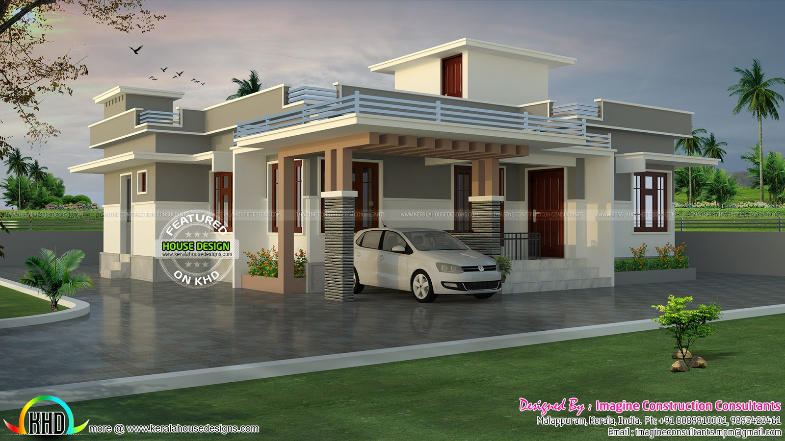 1200 sq ft lakhs cost estimated house plan kerala for Low cost house plans with estimate