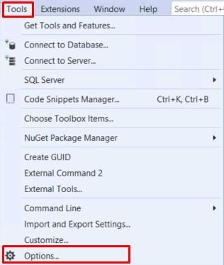 Visual Studio Tools Options