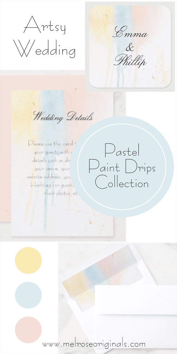 grid of products from the artistic pastel paint drips wedding suite